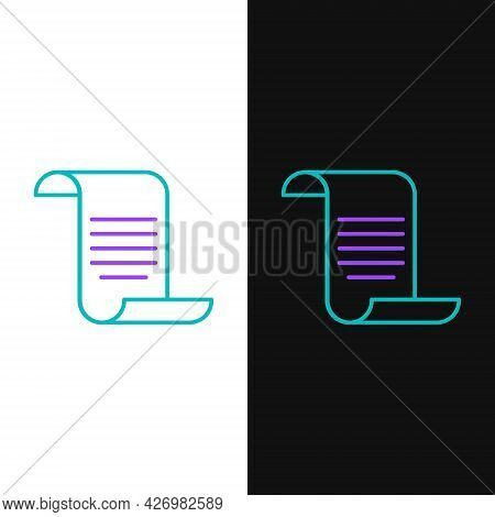 Line Document With Shield Icon Isolated On White And Black Background. Insurance Concept. Security,
