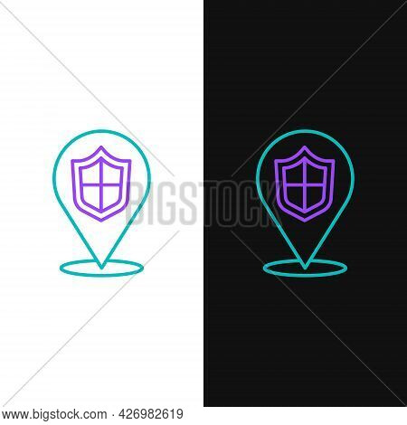 Line Location Shield Icon Isolated On White And Black Background. Insurance Concept. Guard Sign. Sec