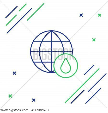 Line Earth Planet In Water Drop Icon Isolated On White Background. World Globe. Saving Water And Wor