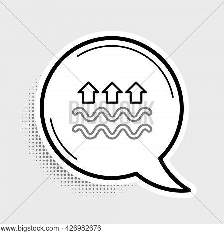 Line Waves Of Water And Evaporation Icon Isolated On Grey Background. Colorful Outline Concept. Vect