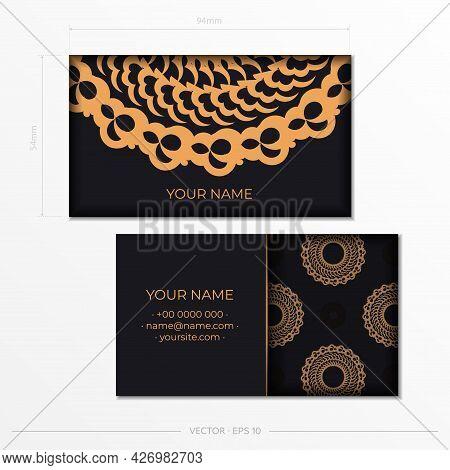 Black Presentable Business Cards. Decorative Business Card Ornaments, Oriental Pattern, Illustration