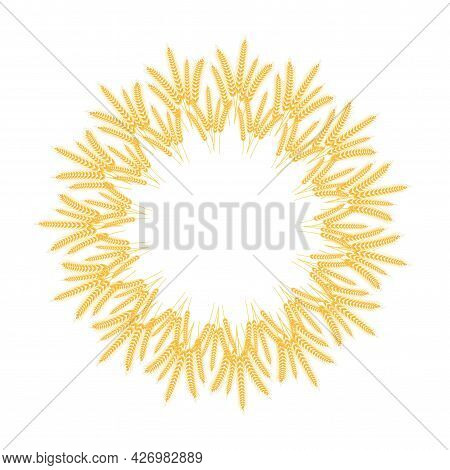 Spikelets Of Wheat. Collected In A Wreath. Spikelets With Grains. Vector Illustration.