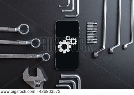 Mobile Repair Service. Technician Workplace With Phone And Special Repairing Tools. Electronics Repa