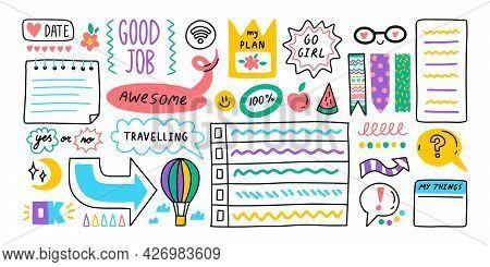 Diary Journal School Cartoon Bullet Stickers. Memo Stickers.
