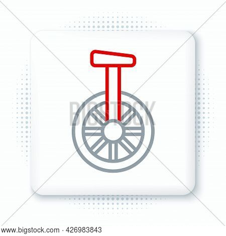 Line Unicycle Or One Wheel Bicycle Icon Isolated On White Background. Monowheel Bicycle. Colorful Ou