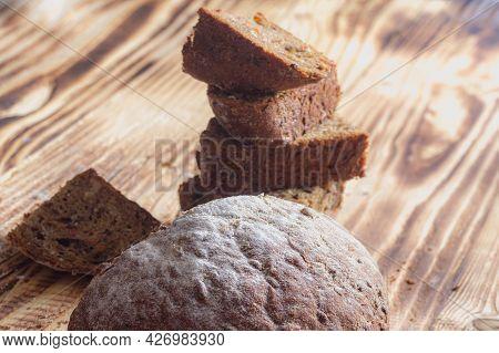 Homemade Cakes, Grain Rye Bread Cut Into Chunks.