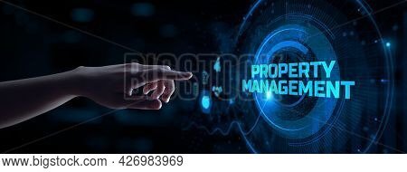 Property Management Business Concept. Hand Pressing Button On Screen