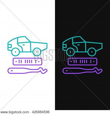 Line Car Theft Icon Isolated On White And Black Background. Colorful Outline Concept. Vector
