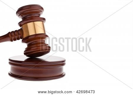 a judge or auction hammer hammer. isolated against white background
