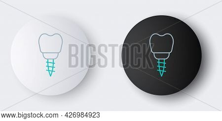Line Dental Implant Icon Isolated On Grey Background. Colorful Outline Concept. Vector