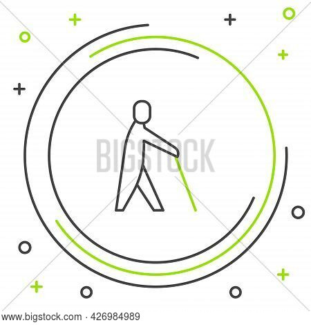 Line Blind Human Holding Stick Icon Isolated On White Background. Disabled Human With Blindness. Col