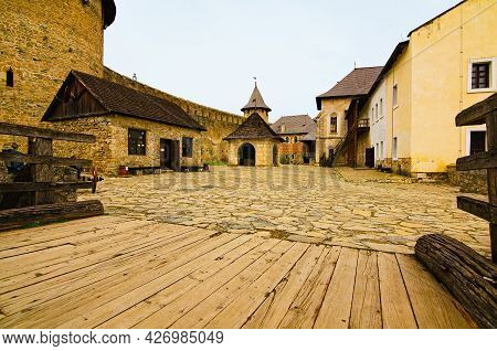 Khotyn, Ukraine-may 14, 2021:picturesque Landscape View Of Courtyard With Ancient Stone Buildings In