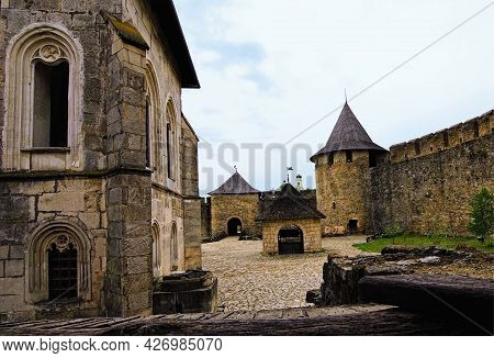 Khotyn, Ukraine-may 14, 2021:astonishing Landscape View Of Courtyard With Ancient Stone Buildings In