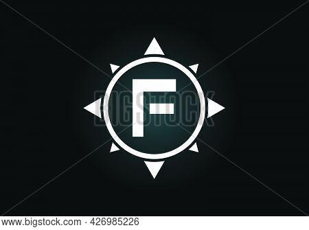 Initial F Monogram Letter Alphabet In A Compass. Font Emblem. Compass Logo Sign Symbol. Modern Vecto