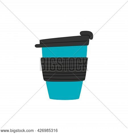 Travel Tumbler With Cap. Reusable Cup, Thermo Mugs. Designs Of Thermos For Take Away Coffee. Vector