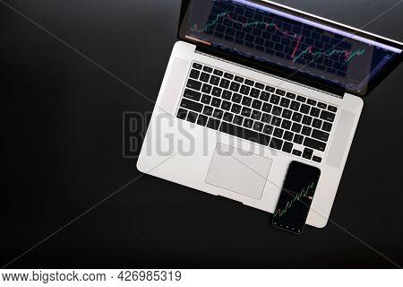 Office Desk. Investment Business Technology App On Digital Screen. Finance Application For Sell, Buy