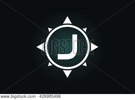 Initial J Monogram Letter Alphabet In A Compass. Font Emblem. Compass Logo Sign Symbol. Modern Vecto