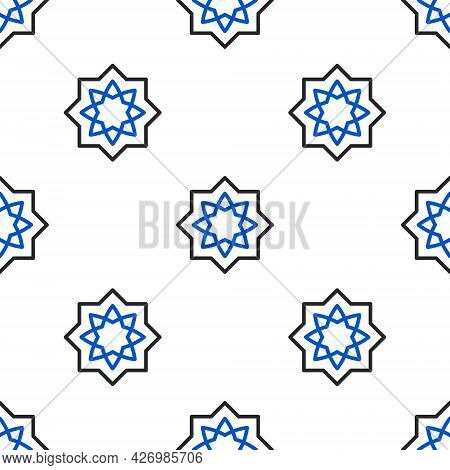 Line Islamic Octagonal Star Ornament Icon Isolated Seamless Pattern On White Background. Colorful Ou