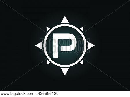 Initial P Monogram Letter Alphabet In A Compass. Font Emblem. Compass Logo Sign Symbol. Modern Vecto