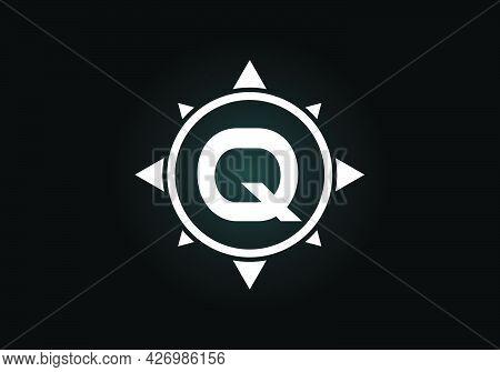 Initial Q Monogram Letter Alphabet In A Compass. Font Emblem. Compass Logo Sign Symbol. Modern Vecto