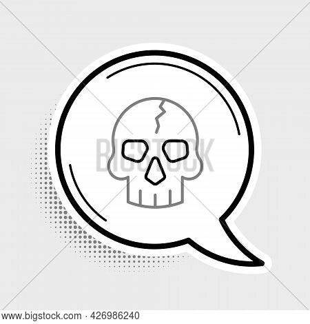Line Skull Icon Isolated On Grey Background. Pirate Captain. Happy Halloween Party. Colorful Outline