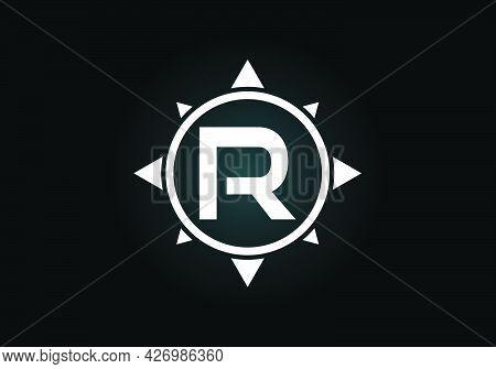 Initial R Monogram Letter Alphabet In A Compass. Font Emblem. Compass Logo Sign Symbol. Modern Vecto