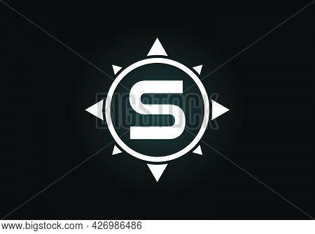 Initial S Monogram Letter Alphabet In A Compass. Font Emblem. Compass Logo Sign Symbol. Modern Vecto