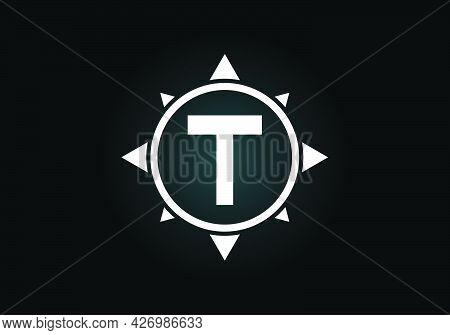 Initial T Monogram Letter Alphabet In A Compass. Font Emblem. Compass Logo Sign Symbol. Modern Vecto