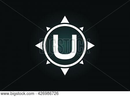 Initial U Monogram Letter Alphabet In A Compass. Font Emblem. Compass Logo Sign Symbol. Modern Vecto