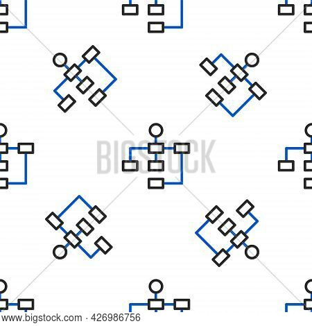Line Business Hierarchy Organogram Chart Infographics Icon Isolated Seamless Pattern On White Backgr