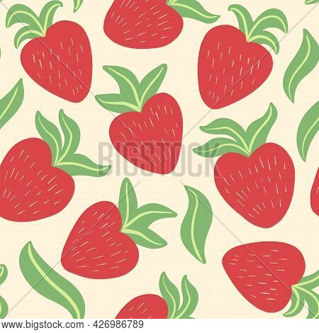 Cute Seamless Pattern With Hand Drawn Red Bright Juicy Strawberries, Leaves In Simple, Childish, Sca
