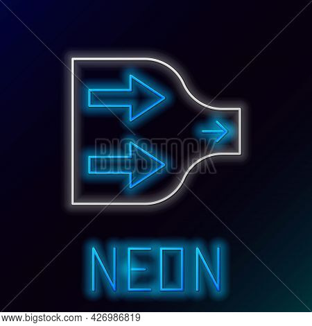 Glowing Neon Line Arrow Icon Isolated On Black Background. Direction Arrowhead Symbol. Navigation Po
