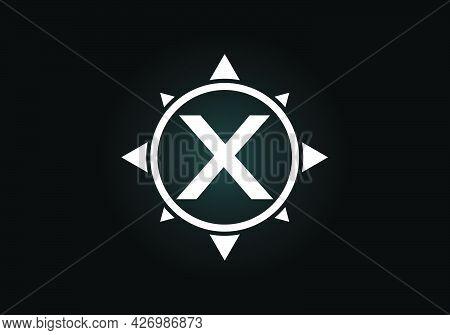 Initial X Monogram Letter Alphabet In A Compass. Font Emblem. Compass Logo Sign Symbol. Modern Vecto