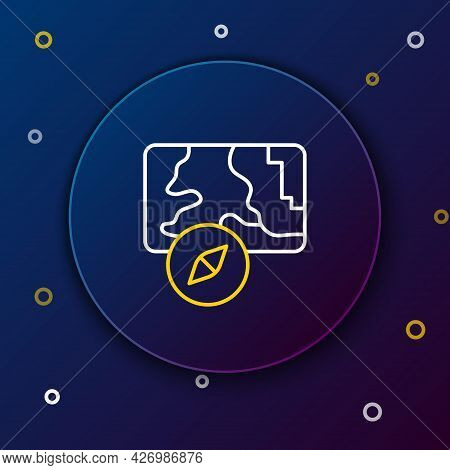 Line Infographic Of City Map Navigation Icon Isolated On Blue Background. Mobile App Interface Conce