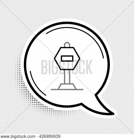 Line Stop Sign Icon Isolated On Grey Background. Traffic Regulatory Warning Stop Symbol. Colorful Ou