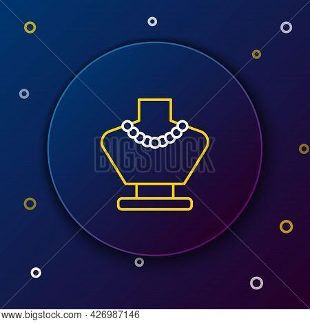 Line Necklace On Mannequin Icon Isolated On Blue Background. Colorful Outline Concept. Vector