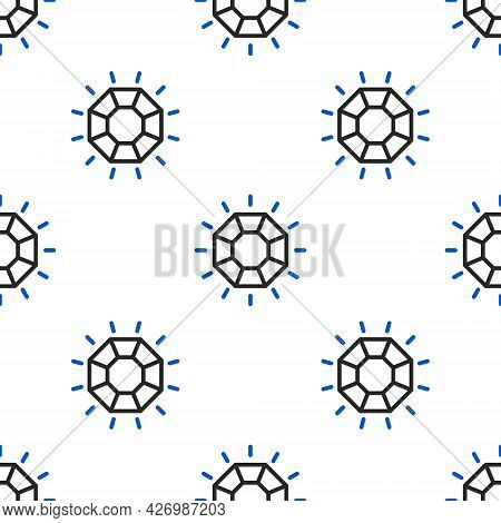 Line Diamond Icon Isolated Seamless Pattern On White Background. Jewelry Symbol. Gem Stone. Colorful