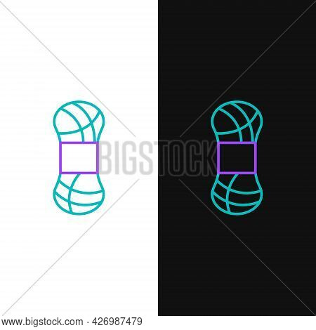 Line Yarn Icon Isolated On White And Black Background. Label For Hand Made, Knitting Or Tailor Shop.
