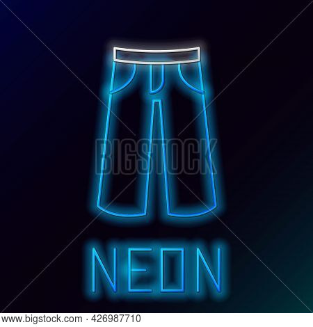Glowing Neon Line Pants Icon Isolated On Black Background. Trousers Sign. Colorful Outline Concept.