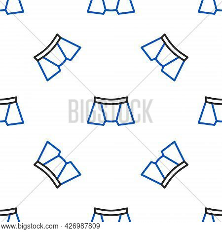 Line Men Underpants Icon Isolated Seamless Pattern On White Background. Man Underwear. Colorful Outl