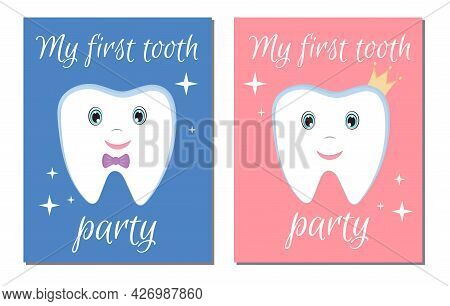 The Invitation To The First Tooth Party For Baby Boy And Baby Girl. Cute Childish First Tooth.