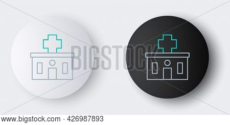 Line Medical Hospital Building With Cross Icon Isolated On Grey Background. Medical Center. Health C