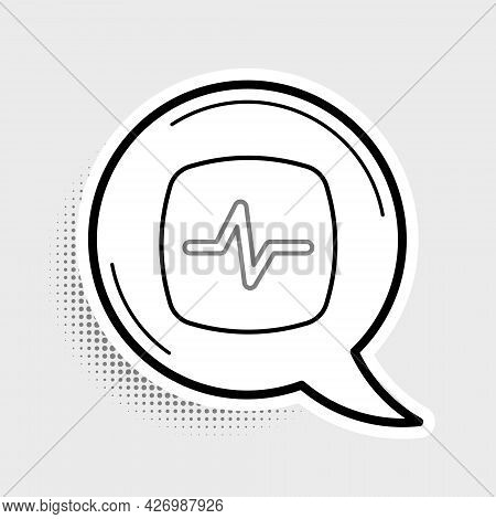 Line Heart Rate Icon Isolated On Grey Background. Heartbeat Sign. Heart Pulse Icon. Cardiogram Icon.