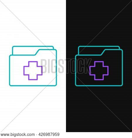 Line Medical Clipboard With Clinical Record Icon Isolated On White And Black Background. Prescriptio