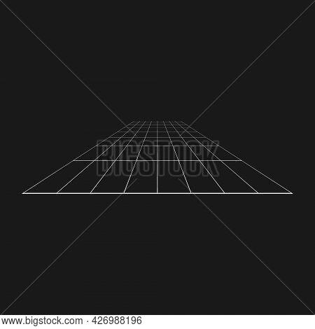 Retrofuturistic Perspective Grid. Cyber Design Element. Grid In Cyberpunk 80s Style. Cyber Geometry