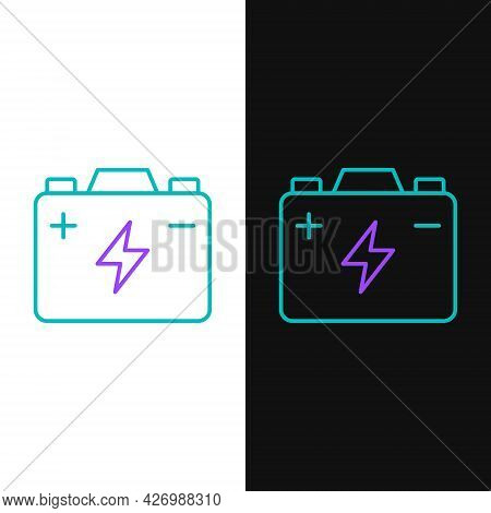 Line Car Battery Icon Isolated On White And Black Background. Accumulator Battery Energy Power And E