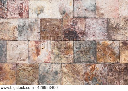 Brown Old Stone Wall, Vintage Texture, Bricks Surface, Abstract Grunge Background, Square Tile Patte