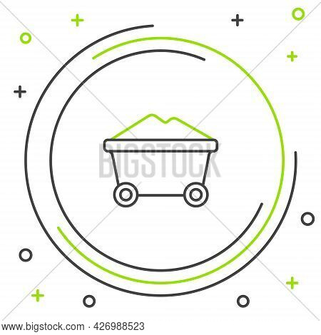 Line Coal Mine Trolley Icon Isolated On White Background. Factory Coal Mine Trolley. Colorful Outlin