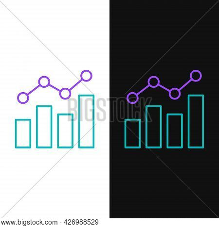 Line Financial Growth Increase Icon Isolated On White And Black Background. Increasing Revenue. Colo
