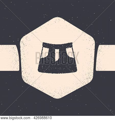 Grunge Skirt Icon Isolated On Grey Background. Monochrome Vintage Drawing. Vector